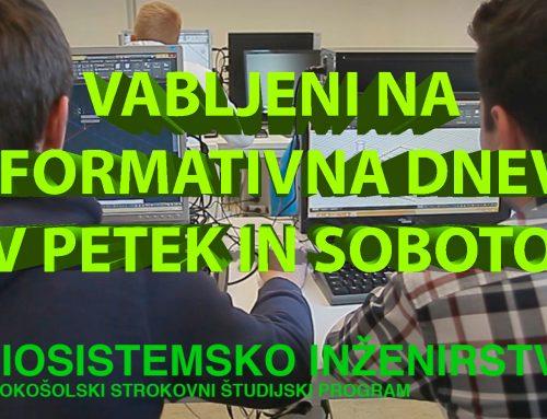 Informativna dneva  v petek in soboto, 14. in 15.2.2020
