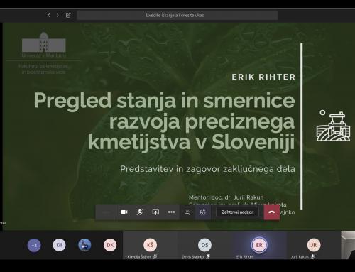 """Zagovor magistrskega dela """"Pregled stanja in smernice razvoja preciznega kmetijstva v Sloveniji"""""""
